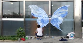 tranh 3d đôi cánh nước thiên thần bình dương