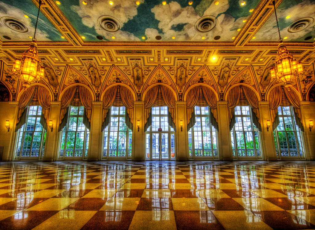 This image really shows the 'gilded age' influence inside the Breakers Hotel