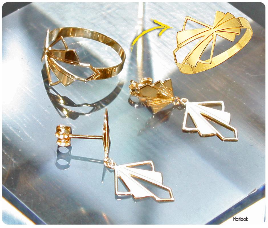 bijoux année folle du Manège à Bijoux de E.Leclerc: bague et boucle d'oreille