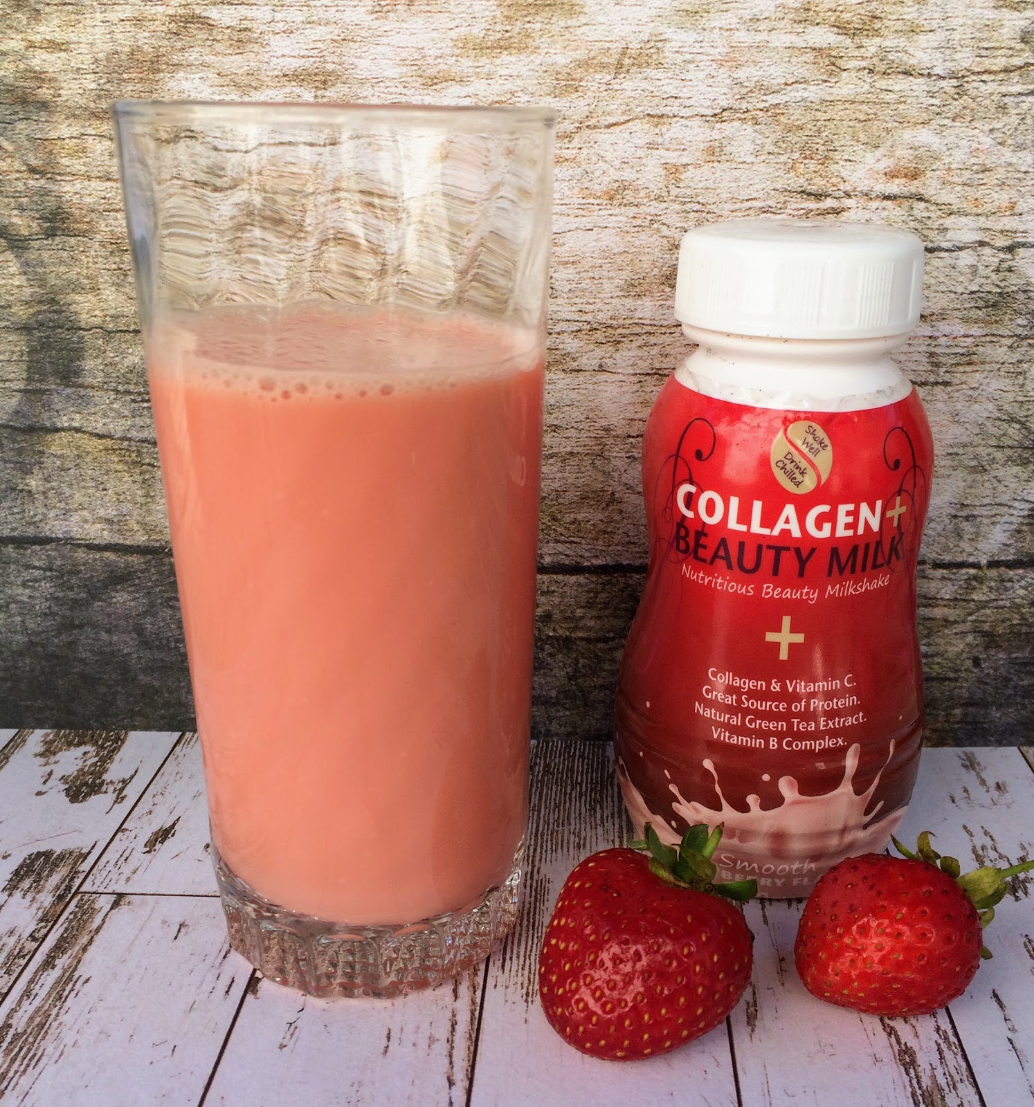 Collagen Beauty Milk poured into the glass