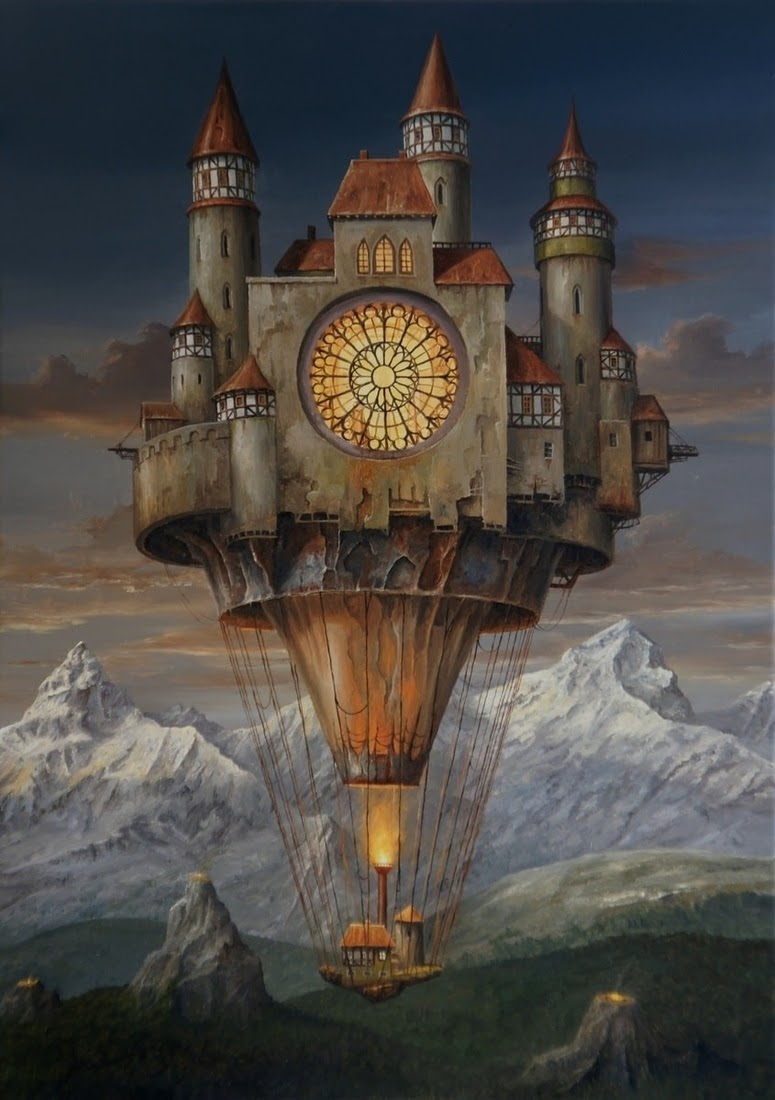 01-Alpine-Fortress-Jarosław-Jaśnikowski-Paintings-of-Flying-Machines-and-Architectural-Surrealism-www-designstack-co