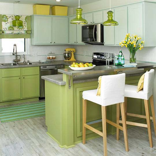 fresh kitchen design ideas with green and yellow colors1