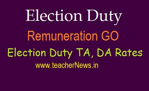 AP Election Duty Remuneration TA, DA Rates 2019 GO 695 | Polling Duty Employees TA, DA Rates