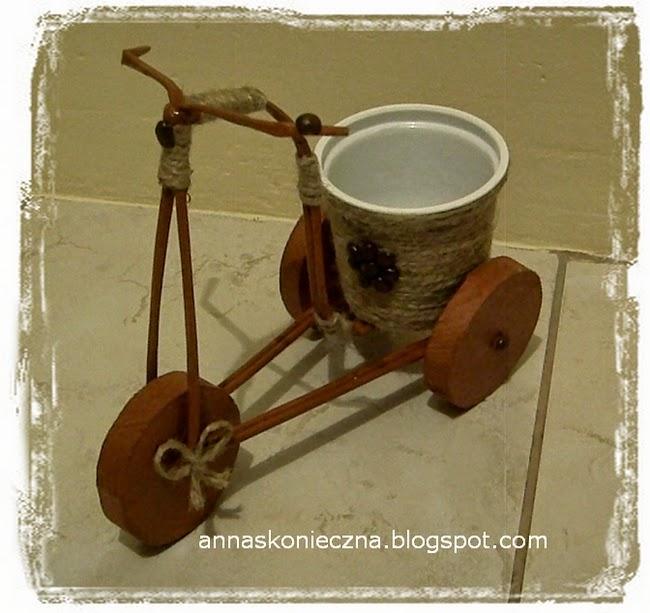 rowerek, papierowa wiklina