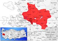 Turgutlu ilçesinin nerede olduğunu gösteren harita