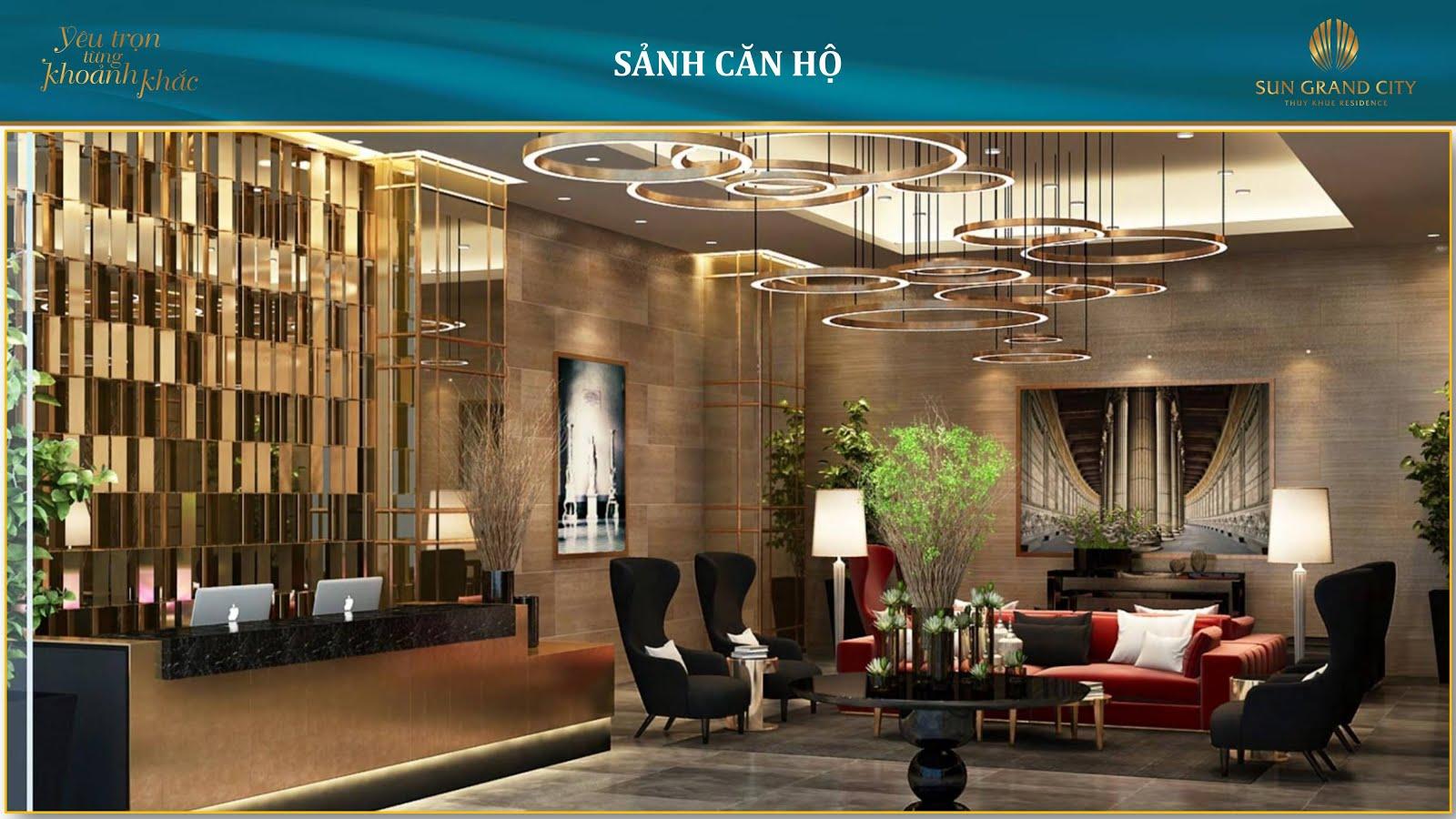Sảnh chờ của Sun Grand City Láng Hạ được thiết kế sang trọng như những khách sạn 5 sao