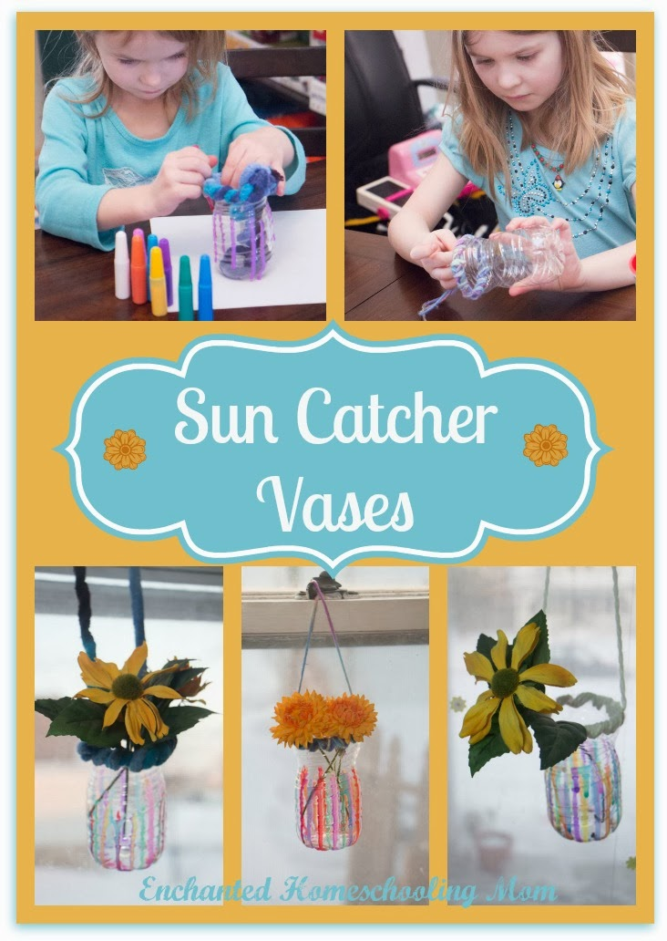 Adorable sun catcher vases! DIY from Enchanted Homeschooling Mom