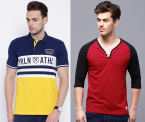 Min 50% Discount on Men's Popular Brand T-Shirts & Polo@ Myntra