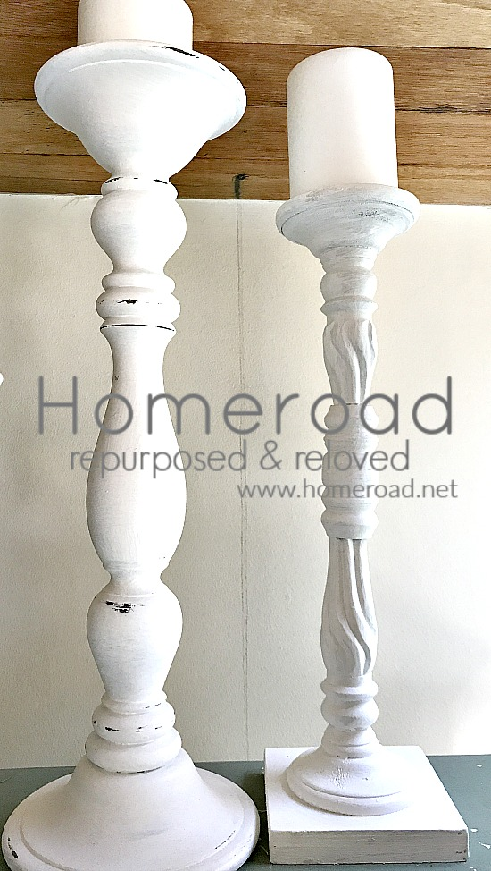collecting tall white candlesticks