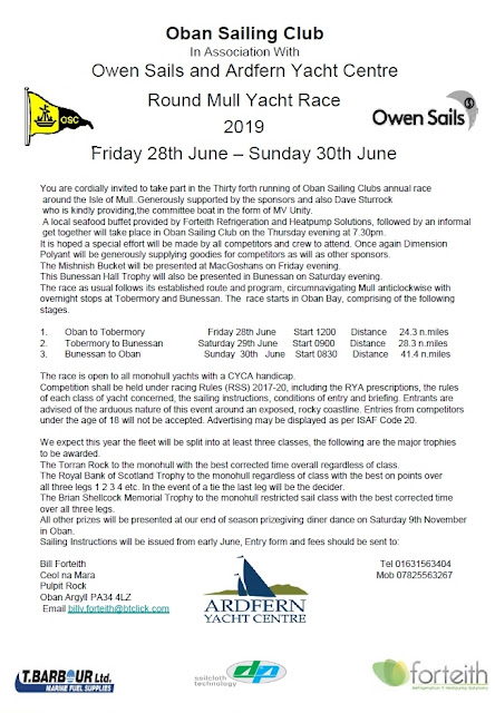 Oban Sailing Club Race Announcement