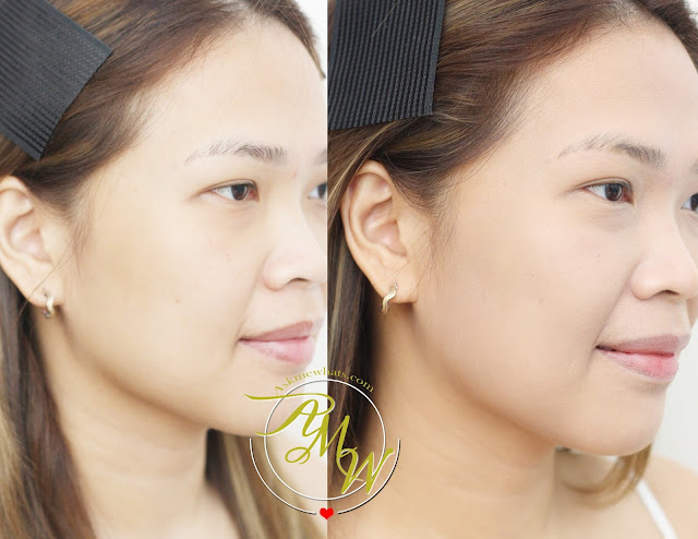 a before and after photo of Cathy Doll AA Automatic Aura Cream natural beige