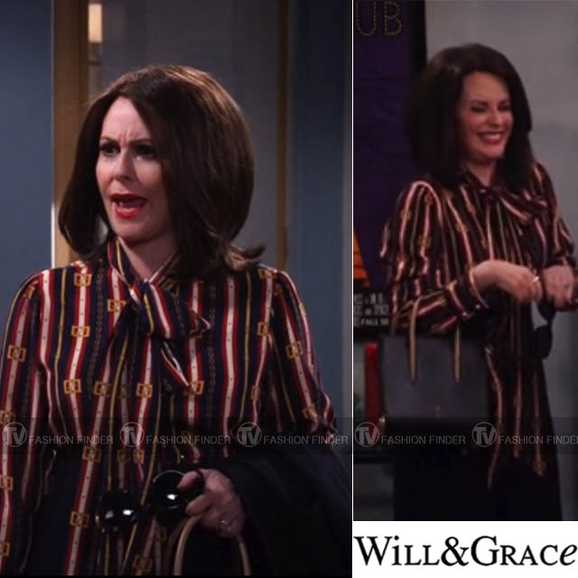 7e22e8528 Megan Mullally as Karen Walker in striped tie neck red and navy gucci blouse  with black