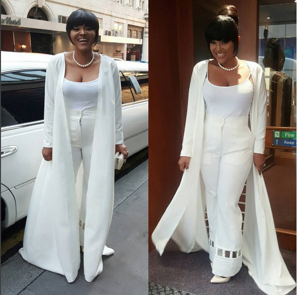 Actress Mercy Aigbe steps out in all white outfit