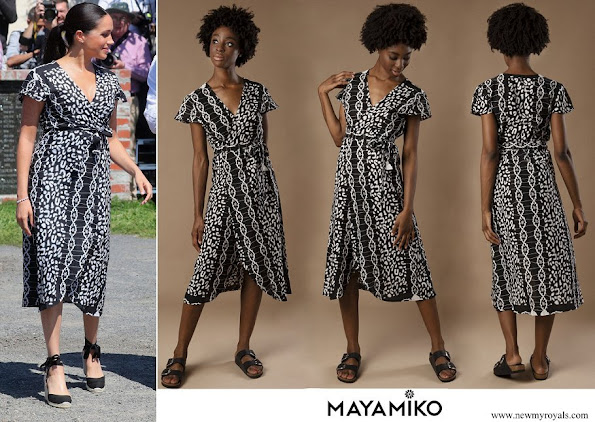 Meghan Markle wore Mayamiko Dalitso maxi wrap dress in black and white