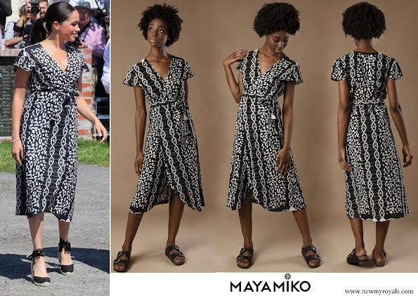 Meghan Markle wore Mayamiko Dalitso maxi wrap dress in black and white