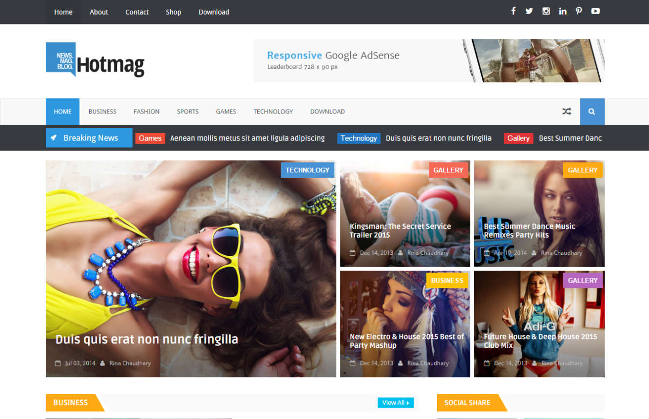 Hotmag Responsive Premium Blogger Template Free Download