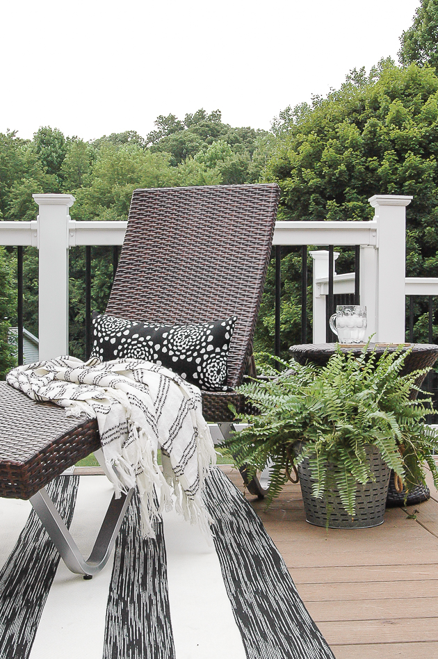 black white and neutral patio decor