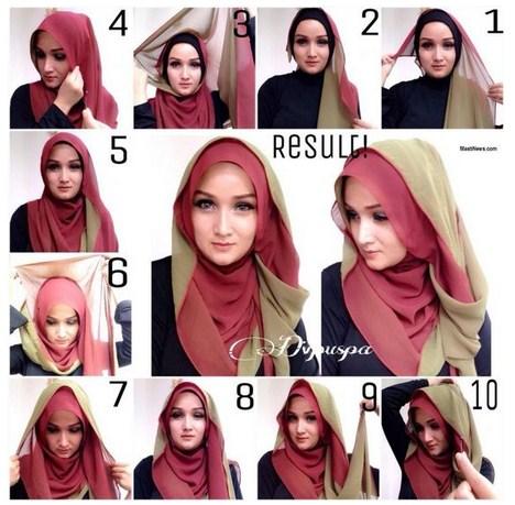 Kreasi Cara Memakai Hijab Modern Paris Kombinasi Dua Warna