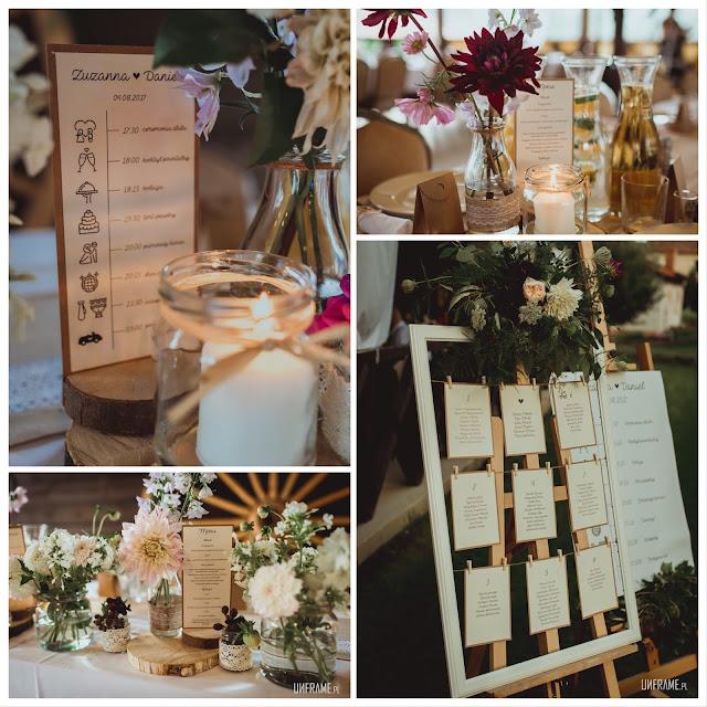 Papeteria ślubna (menu, plan dnia, plan stołów) wykonane przez paperplant.