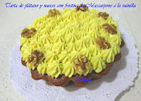 Tarta de plátano y nueces con frosting de mascarpone a la vainilla