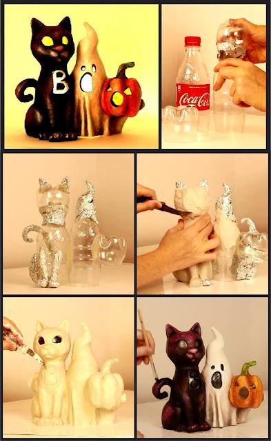 Manualidad para decoración de Halloween con botellas de plástico recicladas