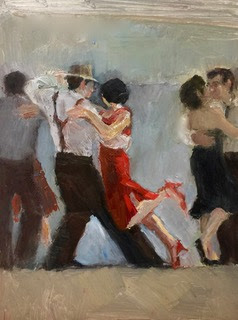 Three couples dancing tango with central woman in red dress and partner in fedora and suspenders