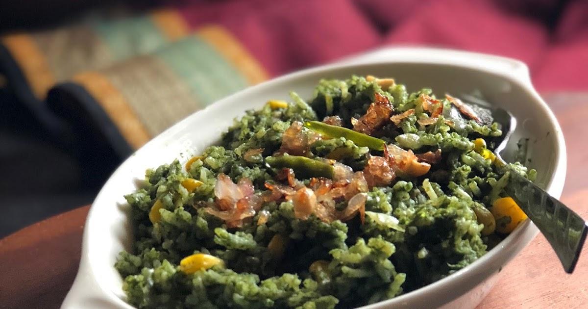 Palak Makai Rice Recipe   Indian Style  Spinach Corn Rice   Gluten Free Recipe