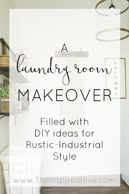 Rustic industrial laundry room makeover with lots of DIY ideas and farmhouse inspiration
