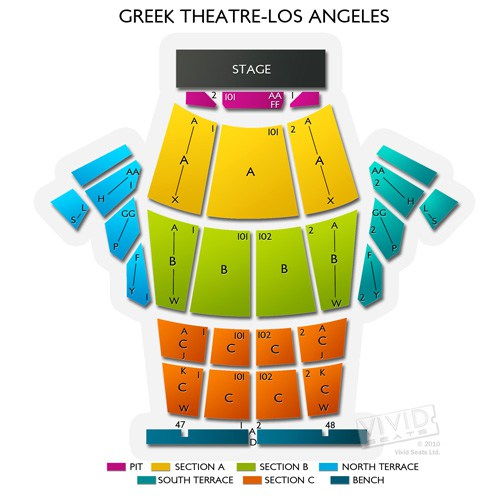 The Greek Theatre Seating Chart & Interactive Seat Map SeatGeek - greek theater seating chart