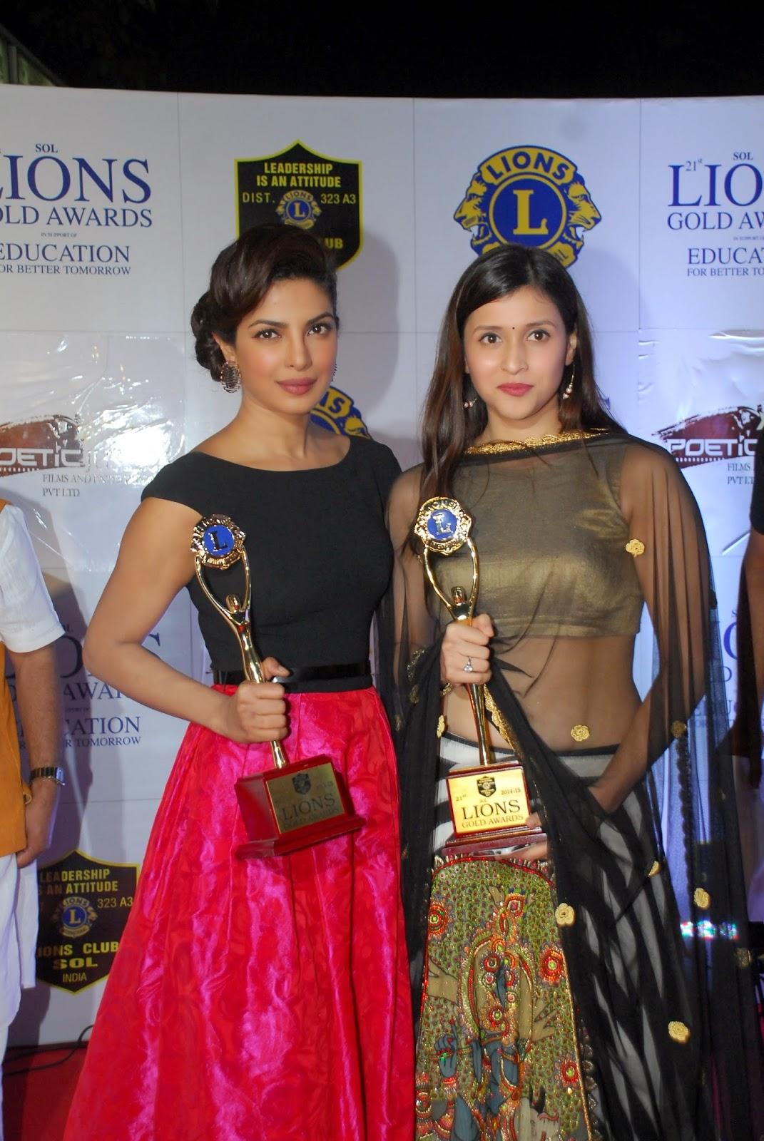 Actress Priyanka Chopra In Black Top Red Skirt At Awards Function