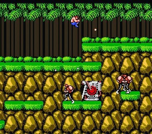 Captura de pantalla del primer nivel de Contra (Konami, 1987)