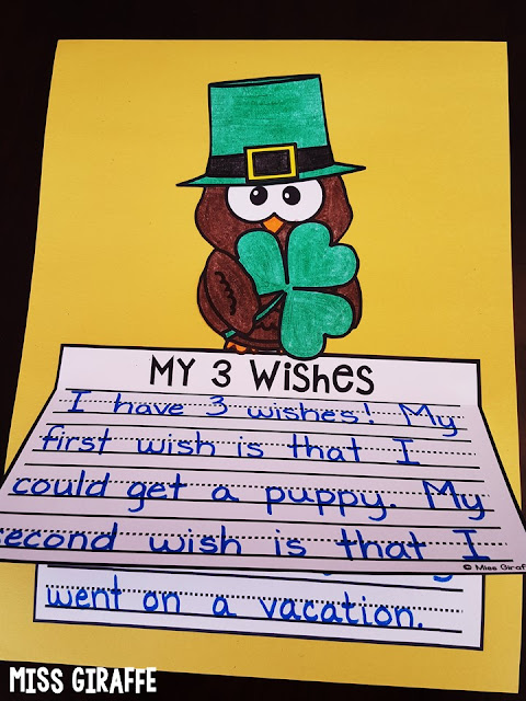My 3 Wishes is a perfect St. Patrick's Day writing prompt to practice first next last in kids' writing