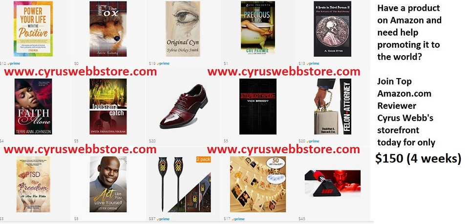 Introducing Cyrus Webb's Amazon Storefront! Click image below!