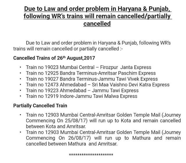 list of Western Railways trains that have been cancelled or partially cancelled