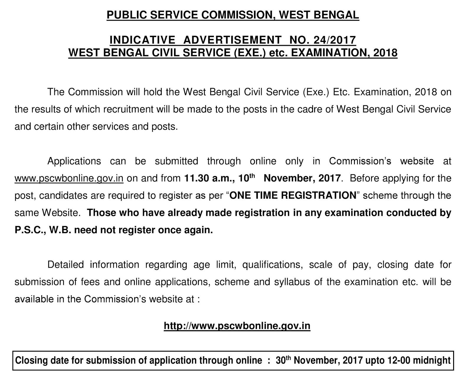24/2017 WEST BENGAL CIVIL SERVICE (EXE.) etc. EXAMINATION, 2018