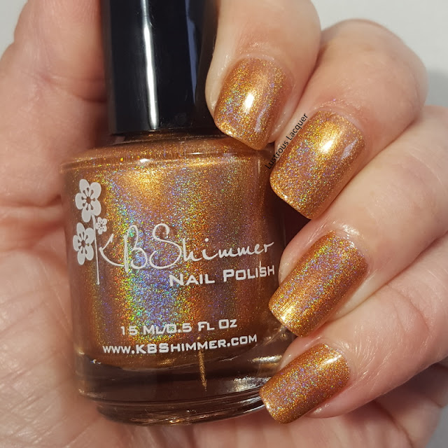 Copper colored linear holographic nail polish