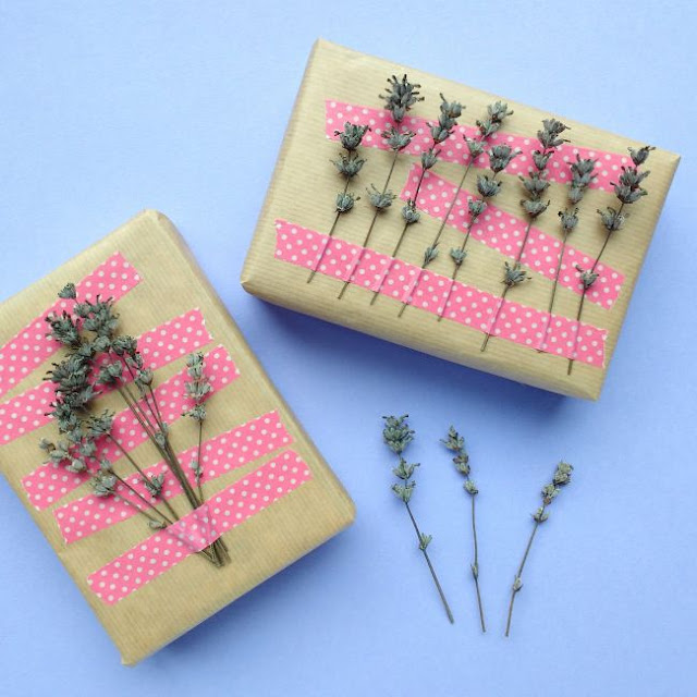 gifts decorated with polkadot washi tape and lavender