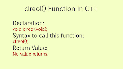 What is clreol() Function in C++?
