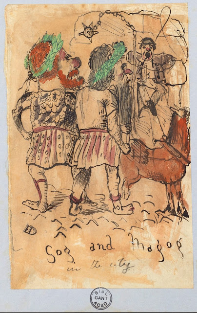 Gog and Magog in the city. Drawing on Origin of a Species manuscript made by Charles Darwin's children. Illustrated By . . . marchmatron.com