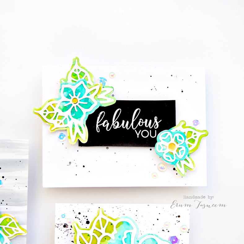 Spellbinders Good Vibes Only by Stephanie Low | Petal'd Poetry Etched Dies | Watercolor Cards by Erum Tasneem | @pr0digy0