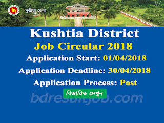 Kushtia District Job Circular 2018