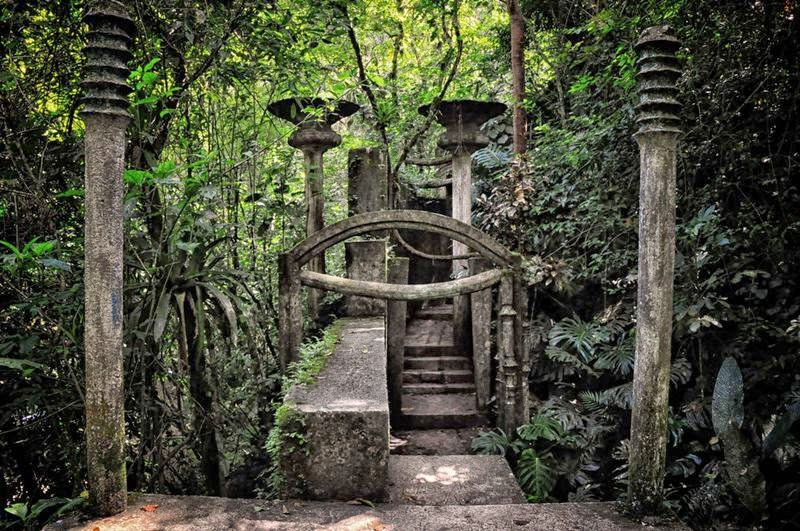 "Las Pozas means ""The Pool"" — The surreal sculpture jungle park, which is one of the relatively new attractions in Mexico. Is this incredible park complex at an altitude of about 610 meters above sea level in emerald mountains range of the Sierra Madre, near the town Xilitla, Mexico."