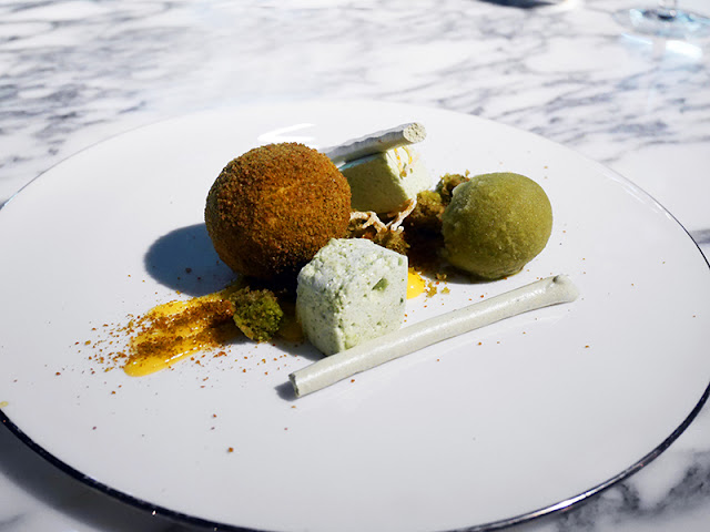 Lemon and matcha dessert at Pike & Pine Brighton