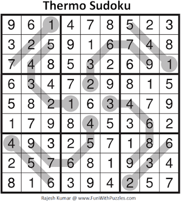 Answer of Thermo Sudoku Puzzle (Daily Sudoku League #213)