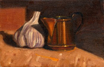Oil painting of a small copper jug casting a shadow on a garlic bulb.