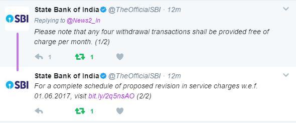 SBI ATM பரிவர்த்தனைகள் 4 முறை இலவசம். SBI Bank News2.inக்கு விளக்கம்
