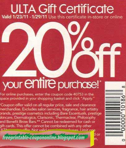 Ulta 20 off entire purchase coupon october 2018