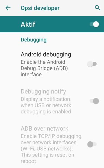 Pengaturan USB Debugging