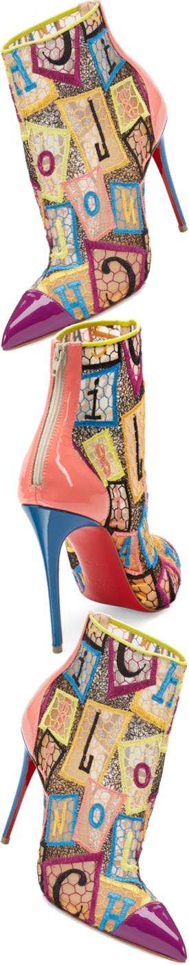 Christian Louboutin Gipsy Point Toe Booties in Multi