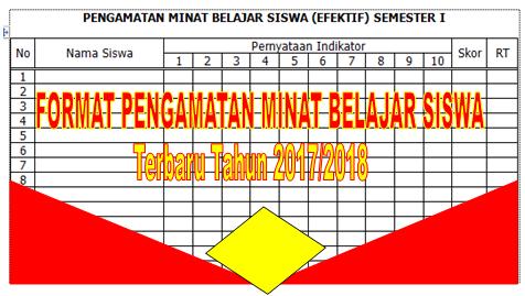 FORMAT PENGAMATAN MINAT BELAJAR SISWA SETIAP SEMESTER TAHUN 2017/2018